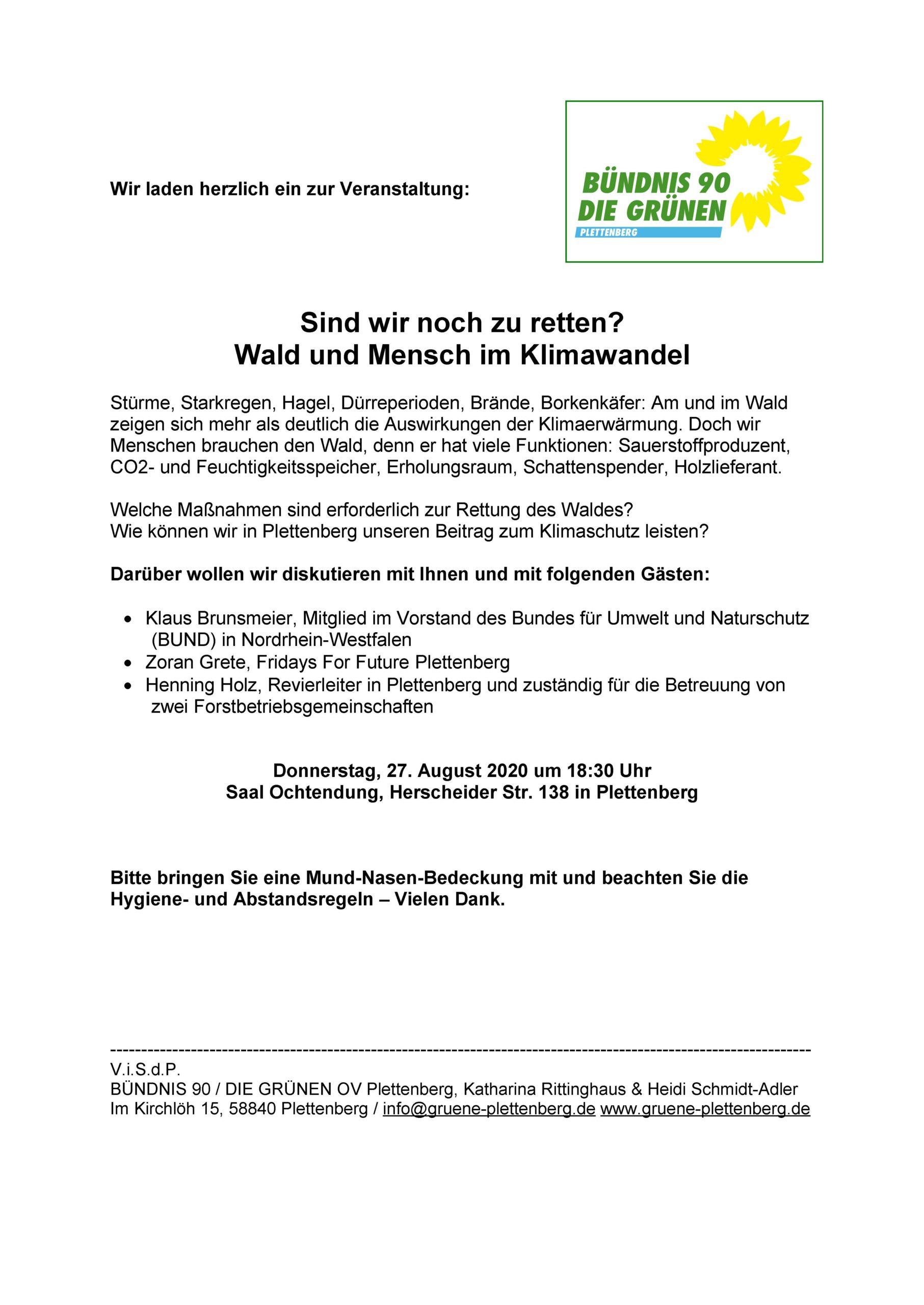 """Einladung zur Veranstaltung """"Sind wir noch zu retten? Wald und Mensch im Klimawandel"""""""